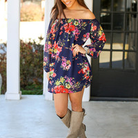 Off the Shoulder Floral Dress - Navy