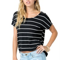 Stripe Button Back Tee