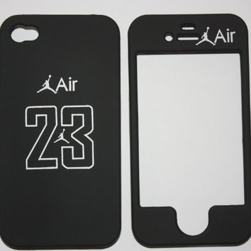 Licensed Jordan Air 23 Black basketball Apple iPhone 4 Faceplate Hard Cell Protector Case Housing Cover Snap On NEW !!