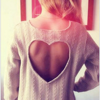 Apricot Heart-Shaped Hollow Backless Hedging Sweater Coat