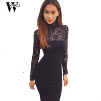 WYHHCJ  2017 Brand Womens Elegant Wedding Party Sexy Night Club turtleneck Black&White Sheath Bodycon Lace Dress Vestidos