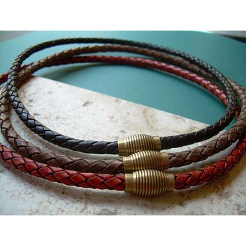 Braided Leather Necklace with Antique Brass Magnetic Clasp