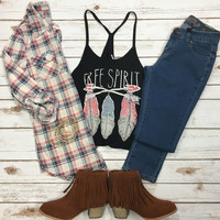 Penny Plaid Flannel Top: White/Pink