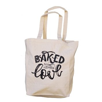 Ink Trendz® Baked with Love Handwritten Font Farmers Market 10oz. Natural Canvas Cotton Tote