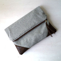 Vegan Clutch, handbag,  fold over clutch, wool and faux suede, Ready To Ship.