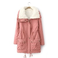 2017 Winter Jacket Women Fur Hooded Womens Down Jackets Ladies Pocket Warm Winter Coat Outerwear Manteau Femme Hiver