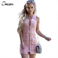 Suede Lace up Pencil Dress Women V neck Sleeveless Pink Bodycon Above Knee Mini