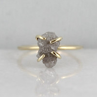 Raw Uncut Rough Diamond Solitaire Engagement by EngagedJewelry