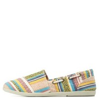 Natural Tribal-Woven Gored Slip-On Flats by Charlotte Russe