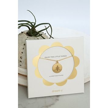 Tree - 24K Gold Plated Coin Dainty Necklace