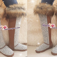 PROMOTION WINTER Knee Hight Bling and Sparkly Brown Fur SheepSkin Wool BOOTS w elegant Pearls and Cs