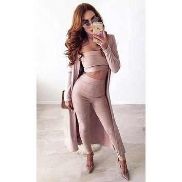 Couple Goals Pink Strapless Faux Suede Crop Top Legging Outerwear Three Piece Set - Sold Out