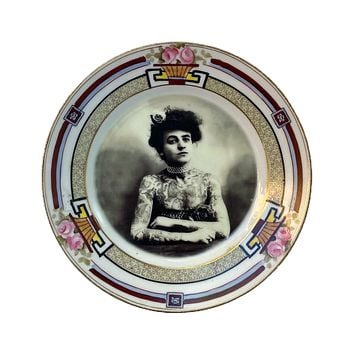 Antique Altered Plate Tattoo Girl