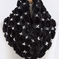 Sequined Faux Fur Infinity Scarf - Black