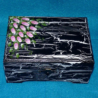 Decorative Wood Jewelry Box Hand Painted Wood Box Distressed Roses Unique Gift