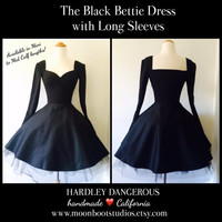 SALE Black Bettie Dress in Jet Black Sateen, Modern Pinup Retro Goth Steampunk Ballerina Style Party Dress, Sexy Ink Long Sleeves Rockabilly