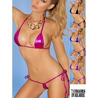 Pink Extreme Metallic Micro Triangle Top & Side Tie G-String Thong Bikini Set (7 colors available)