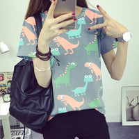 Animal Dinosaur Printing T shirt Womens 2016 Summer Japanese Harajuku Style Short-sleeved T-shirt Womans Tops S-XL