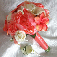 Coral and Cream color Peonies, Roses, Plumerias & Calla Lilies Bouquet
