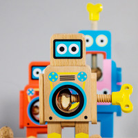 Robot Nut Cracker : Retro Wooden Robots Crack Tough Nuts