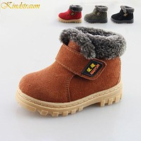 Winter kids thermal boots Children warm anti skid snow boots cow muscle bottom Kid cow leather shoes