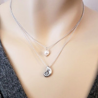Double, layered, ariel, necklace, Ariel, mermaid, pearl, necklace, mermaid, necklace, little, mermaid, disney, inspired, simple, cute