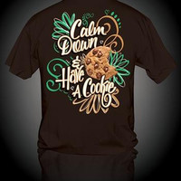 Sweet Thing Funny Calm Down Have a Cookie Girlie Bright T-Shirt