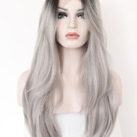 K'ryssma® Ombre Gray 2 Tones Synthetic Lace Front Wig Dark Roots Long Natural Straight Silver Grey Replacement Hair Wigs For Women Heat Resistant Fiber Hair Half Hand Tied 22 Inches