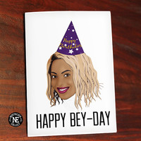Happy Bey Day Beyonce Greeting Card - Happy Anniversary Card for Girlfriend or Boyfriend 5 X 7 Inches