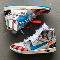 Parra x Off-White x Air Jordan 1 Custom High Sneakers
