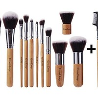 EmaxDesign Makeup Brush Set Professional 12 Pieces Bamboo Handle Premium Synthetic Kabuki Foundation Blending Blush Concealer Eye Face Liquid Powder Cream Cosmetics Brushes Tool Kit With Bag