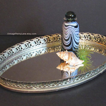 Vintage Tray Mirror / Gold Brass Metal Filigree Oval Vanity Mirror Dresser Tray