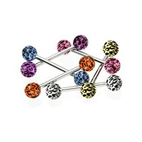 Tongue Ring Lot of 6 Leopard Print UV Balls 14 Gauges Come with 1 Tongue Retainer Assorted Color