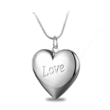 LOVE Silver Heart Locket Necklace For Woman