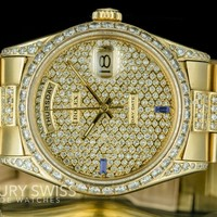 Rolex Men's Day-Date 18038 18K Yellow Gold Diamond Dial /Bezel and Band 36mm
