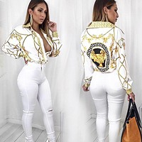 Versace Woman Fashion Lapel Shirt Top Tee