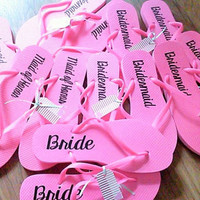 Hot Pink Bridal party flip flops, Bride's Slippers, Wedding dance shoes, Personalized bridesmaids gift