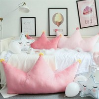 90x43cm INS Cute Star Crown Shape Pillow Pink Cushion Gift Birthday Party Room Decoration Boy Girls Sleeping Bedding Pillows