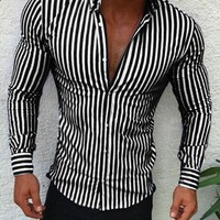 Shirts 2018 New Brand Fashion Men Luxury Stylish Striped Button Casual Shirts Long Sleeve Slim Fit Shirts