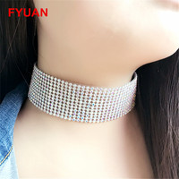 New Arrival Luxury Colorful Blue Crystal Rhinestone Choker Necklaces for Women Girl Wedding Party Chocker Collares Collier