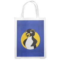 Rockhopper penguin cartoon reusable grocery bags