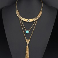 Casual Faux Turquoise Layered Necklace