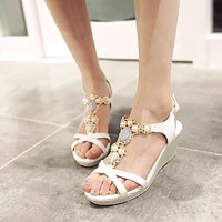 Wedges Sandals Women Platform Pumps Rhinestone Pearl High Heels Shoes Woman 3542