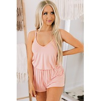 Simply Smile Criss Cross Back Romper (Blush)