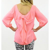 Sweet Blossom Neon Pink Bow Back 3/4 Sleeve Top