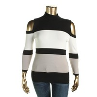 INC Womens Colorblock Cold Shoulder Pullover Sweater