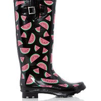 Black Watermelon Print Wellies
