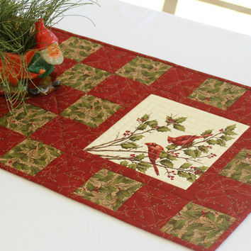 Cardinal Table Runner, Quilted Red Table Runner, Holly and Pines, Rustic Cabin Decor, Winter Table Runner, Quiltsy Handmade