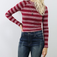Lookout Mountain Burgundy Striped Ribbed Knit Mock Neck Sweater Top