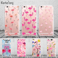 New Fashion Soft Colorful Flamingo Case Cover For iPhone 6 6S 5 5s SE 7 7Plus Transparent Silicone Phone Cases Fundas Capa